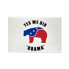 Obama Yes We Did Polar Bear Rectangle Magnet