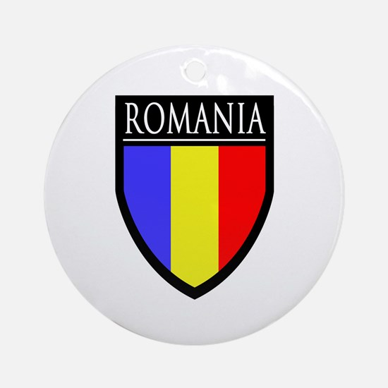 Romania Flag Patch Ornament (Round)
