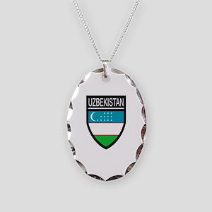 Uzbekistan Patch Necklace Oval Charm