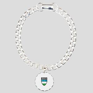 Uzbekistan Patch Charm Bracelet, One Charm