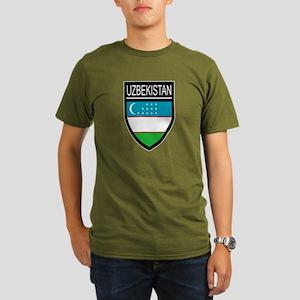 Uzbekistan Patch Organic Men's T-Shirt (dark)