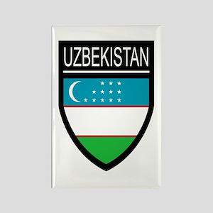 Uzbekistan Patch Rectangle Magnet