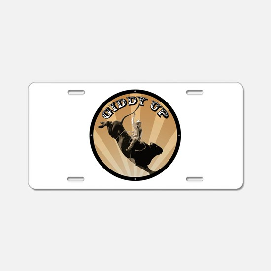 Giddy Up Aluminum License Plate