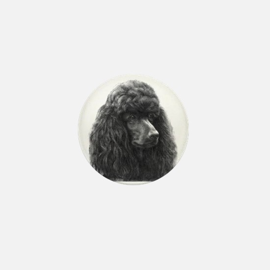 Black or Chocolate Poodle Mini Button