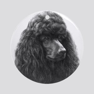 Black or Chocolate Poodle Ornament (Round)