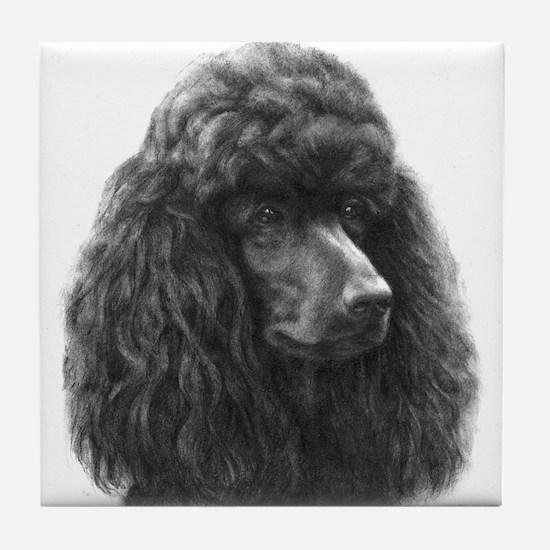 Black or Chocolate Poodle Tile Coaster