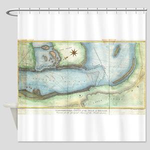 Vintage Map of Niagara Fall NY (184 Shower Curtain