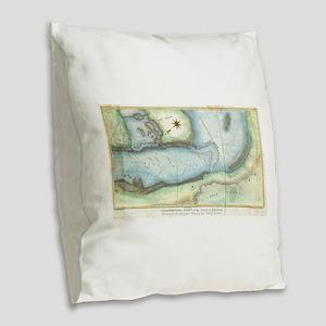 Vintage Map of Niagara Fall NY Burlap Throw Pillow