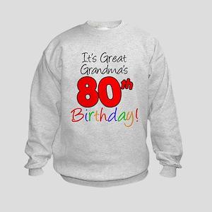 Great Grandma's 80th Birthday Kids Sweatshirt