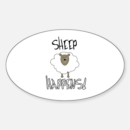 Sheep Happens Sticker (Oval)
