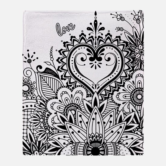 Cute Black white flower Throw Blanket