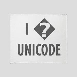 I Love Unicode Throw Blanket