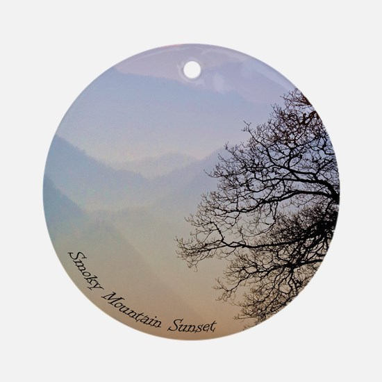 Smoky Mountain Sunset Ornament (Round)