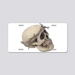 Skull with Barbed Wire Crown Aluminum License Plat