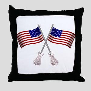 American Flag Lacrosse Throw Pillow