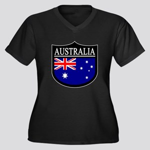 Australia Patch Women's Plus Size V-Neck Dark T-Sh