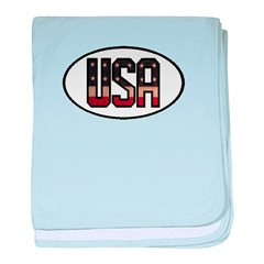USA OVAL STICKERS & MORE! baby blanket