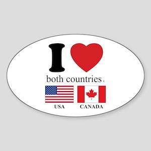 USA-CANADA Sticker (Oval)