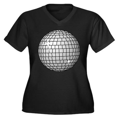 70's Disco Ball Women's Plus Size V-Neck Dark T-Sh