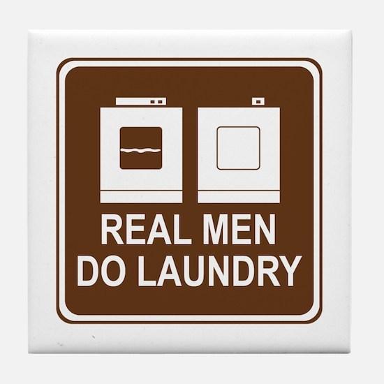 Real Men Do Laundry Tile Coaster