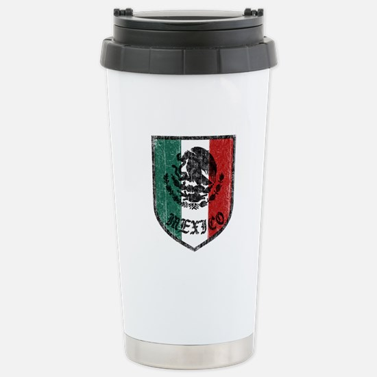Mexican Flag Crest Stainless Steel Travel Mug