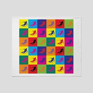 Pop Art Skiing Throw Blanket