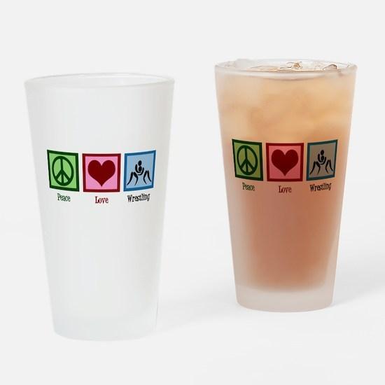 Peace Love Wrestling Drinking Glass