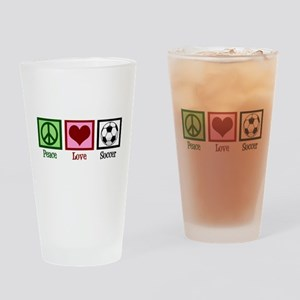 Peace Love Soccer Drinking Glass
