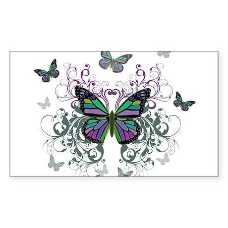 MultiColor Butterflies Sticker (Rectangle)