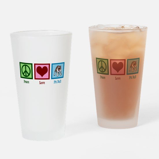 Peace Love Pit Bull Drinking Glass