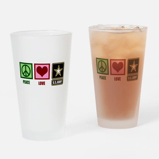 Peace Love Army Drinking Glass