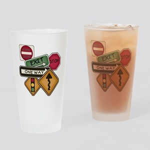Road Signs Pint Glass