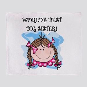 (Brunette) Best Big Sister Throw Blanket