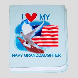 Love My Navy Granddaughter baby blanket