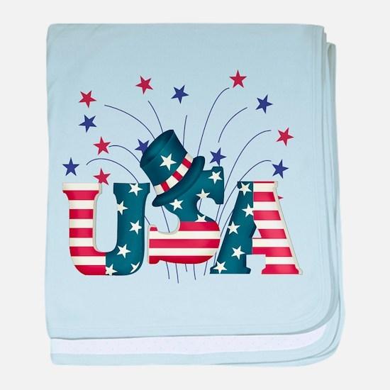 USA Fireworks baby blanket