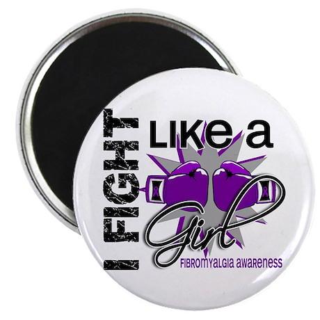 "Fight Like A Girl Fibromyalgia 2.25"" Magnet (10 pa"