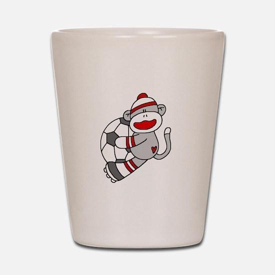 Sock Monkey Soccer Shot Glass