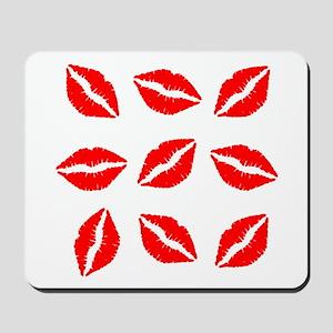 Red Lipstick Kiss Print Mousepad