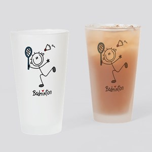 Stick Figure Badminton Pint Glass