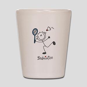 Stick Figure Badminton Shot Glass
