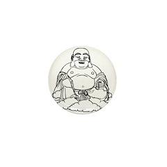 Gold Buddha Statue Icon Mini Button (10 pack)