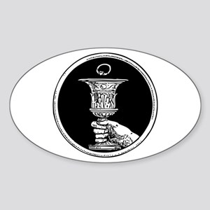 Chalice And Claddagh Ring Sticker (Oval)