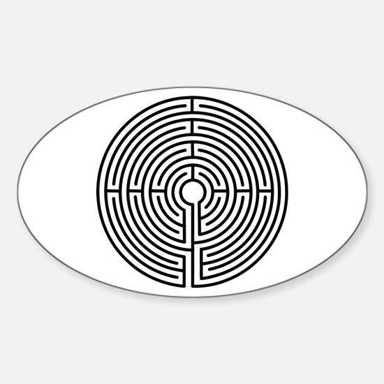 Medieval Labyrinth Symbol Sticker (Oval)