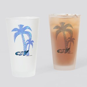 Blue Beach Palm Drinking Glass