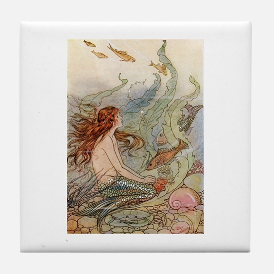mermaid lass Tile Coaster