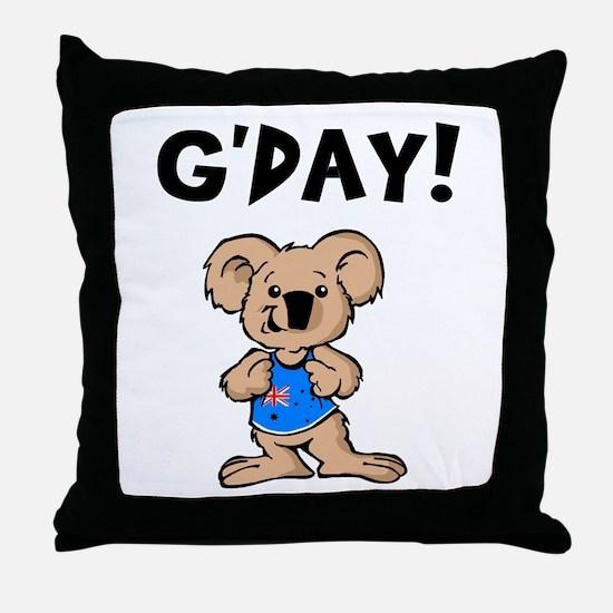 Australian Koala G'Day Throw Pillow