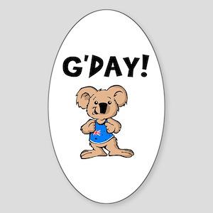 Australian Koala G'Day Oval Sticker