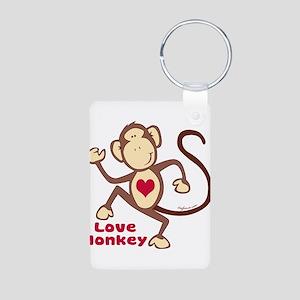 Love Monkey Heart Aluminum Photo Keychain