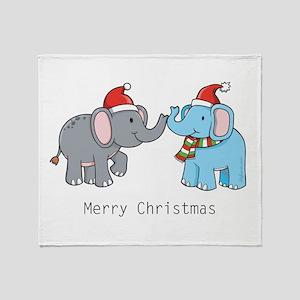 Elephant Christmas Throw Blanket