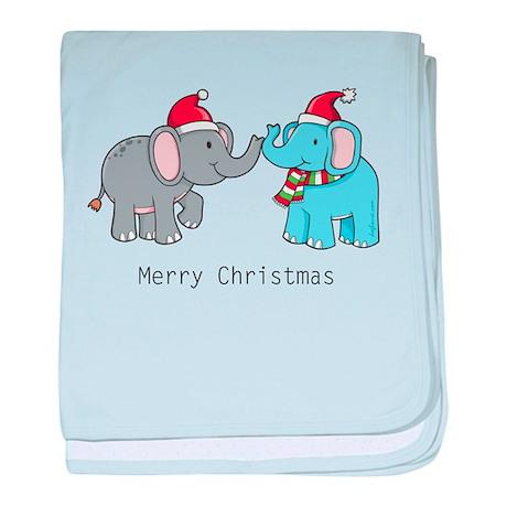 Elephant Christmas baby blanket